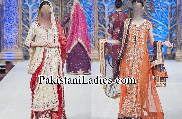 Beautiful Mona Imran Bridal Collection at London Fashion Week 2014 frock Pakistani Indian Designer Bridal Lehenga with Choli