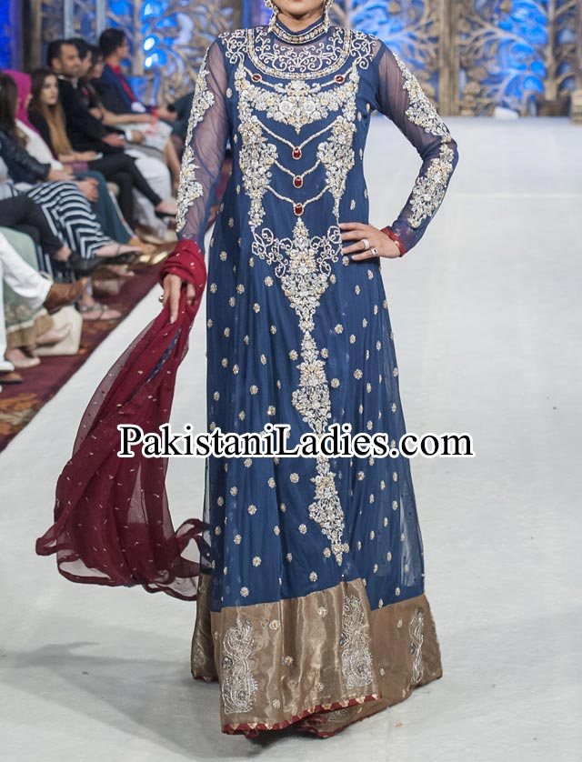 Beautiful Mona Imran Bridal dresses Collection at London Fashion Week 2014 frock Pakistani Indian Designer Bridal Lehenga with Choli