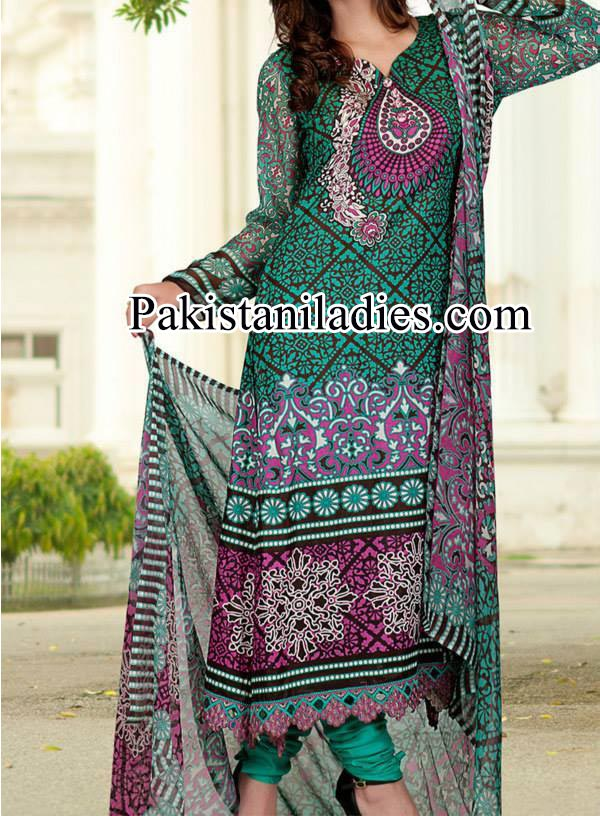 Dawood Lawn Collection Long Shirt Kameez with Choori Pajama Fashion 2014 2015 Facebook Designs Women Girls Green