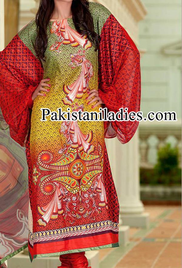 Dawood Lawn Collection Long Shirt Kameez with Choori Pajama Fashion 2014 2015 Facebook Designs Women Girls