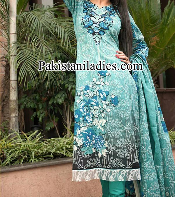 Dawood Lawn Collection Long Shirt Kameez with Choori Pajama Fashion Trends 2014 2015 Facebook Designs Women Girls