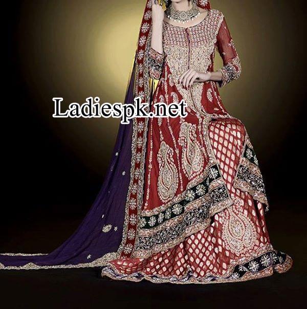Facebook Fashion Designer Ahsan Hussain bridal collection 2014 2015 maroon lehenga Open long Shirt lehenga Choli Walima Dress lehenga choli