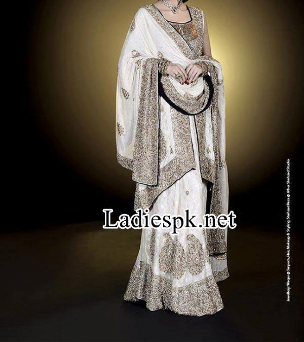 Facebook Fashion Designer Ahsan Hussain bridal collection 2014 2015 off White Open Shirt Choli Walima Dress lehenga choli