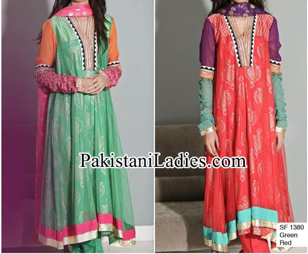 Facebook Maria B Prices embroidered Neckline Designs With Laces Party Evening Wear Dresses 2014 2015 Design for Women and Girls Frock PKR-14,900