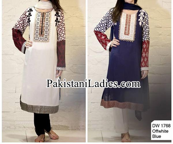 Facebook Maria B Prices embroidered Neckline Designs With Laces Party Evening Wear Dresses 2014 2015 Kameez Design for Women and Girls PKR-5,400