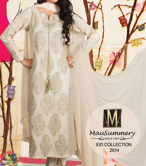 Facebook Mausummery Lawn Eid Summer Collection 2014 Prices for Women Long Shirt Kameez Fashion Price Rs.4,650 catalogue