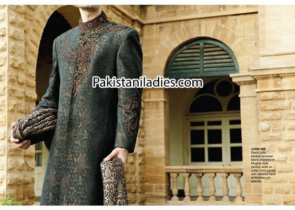Latest-Fancy-Junaid-Jamshed-Wedding-black-Sherwani-Designs-Collection-Men-Groom-2014-2015-Gents-styles-suits-in-Pakistan-India-Facebook