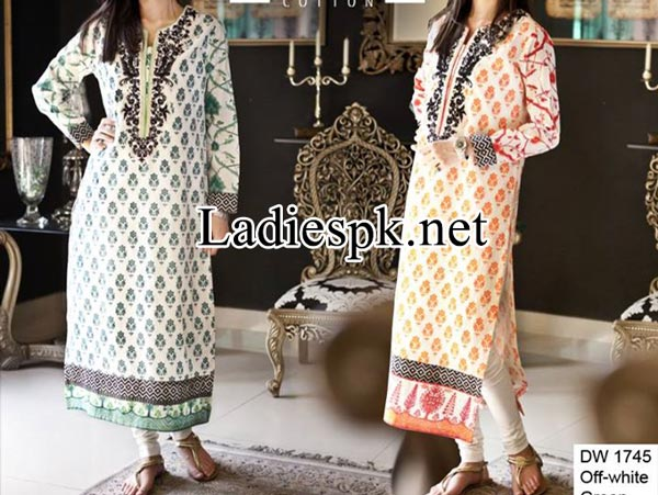 Maria B Eid Dresses Design Collection 2014 with Price for Women and Girls Long Shirt Choori Pajama Kameez Fashion PKR-2,800 Summer
