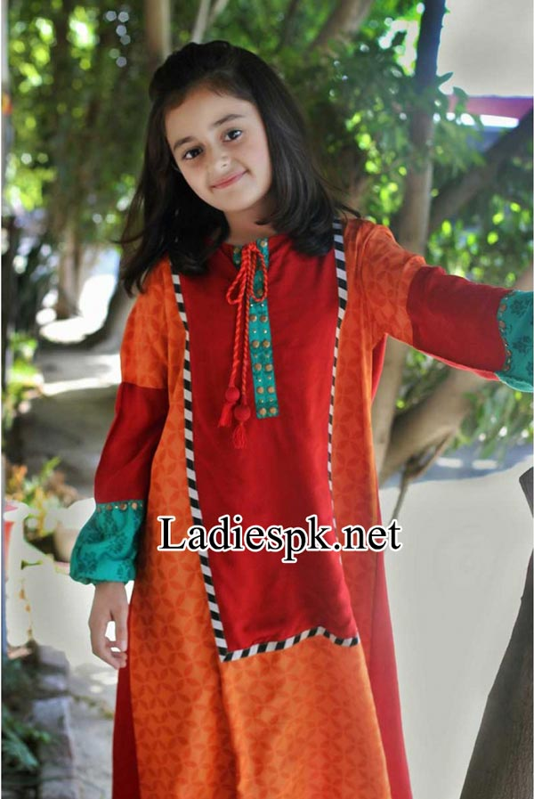 Maria-B-Kids-Eid-Dresses-Design-Collection-2014-with-Price-for-Girls-Long-Shirt-Choori-Pajama-Red-Shalwar-Kameez-Fashion-PKR-3,000