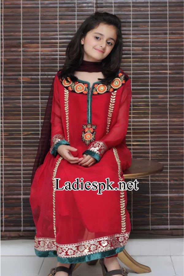 Maria-B-Kids-Eid-Dresses-Design-Collection-2014-with-Price-for-Girls-Long-Shirt-Choori-Pajama-Red-Shalwar-Kameez-Fashion-PKR-4,200