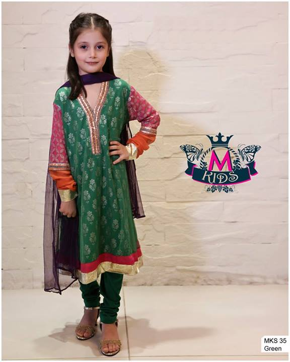 Maria B Kids Party and Wedding Dresses Design Collection 2014 2015 for Girls Facebook Shalwar Kameez Neckline