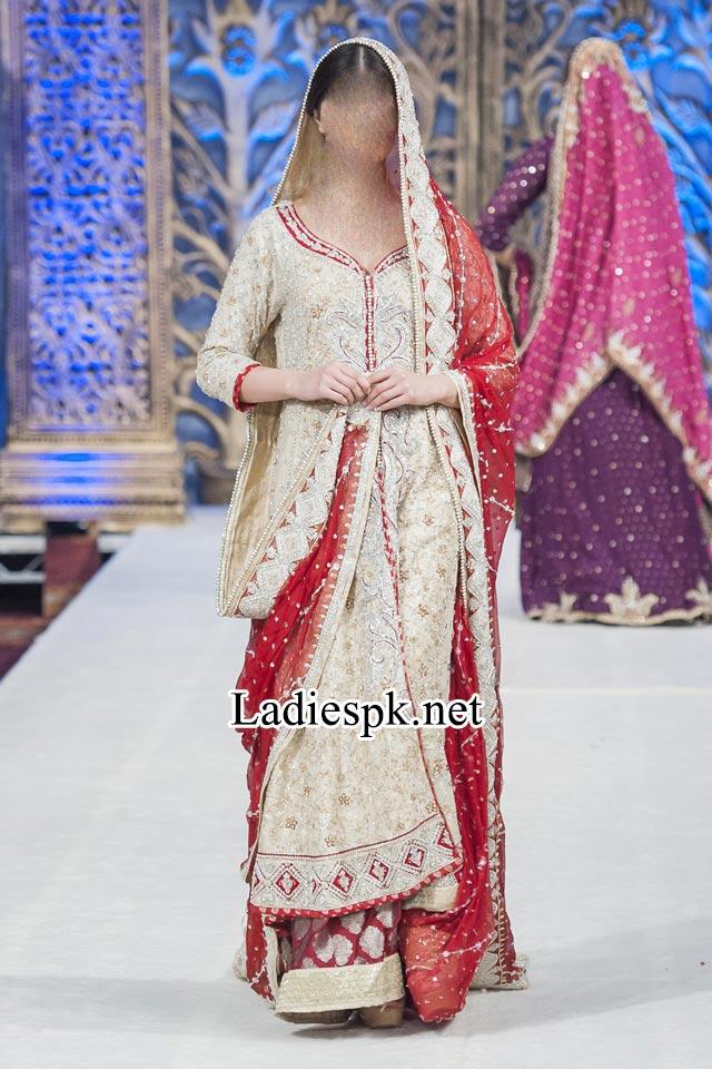 Mona Imran Bridal Collection at London Fashion Week 2014 rock Pakistani Indian Designer Bridal Lehenga with Choli 2015