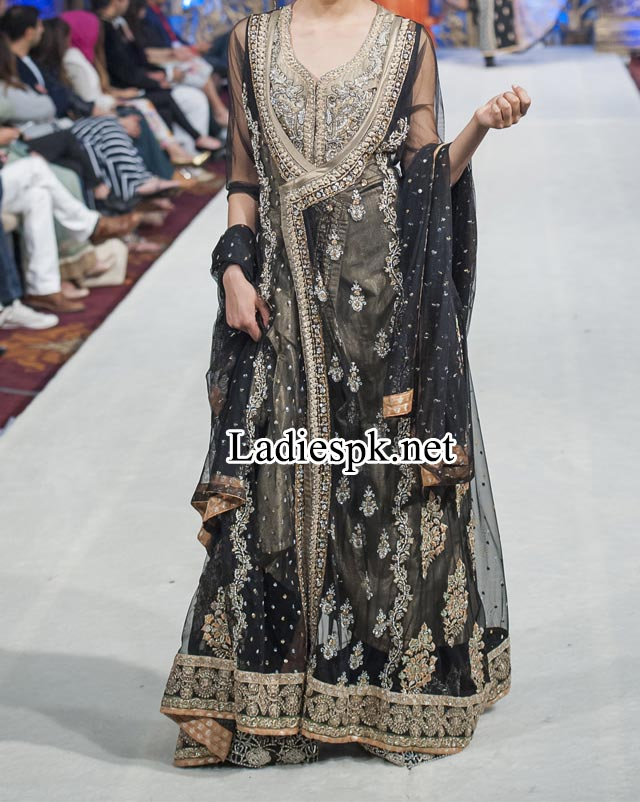 Mona Imran Bridal Collection at London Fashion Week 2014 rock Pakistani Indian Designer Bridal Lehenga with Choli Black