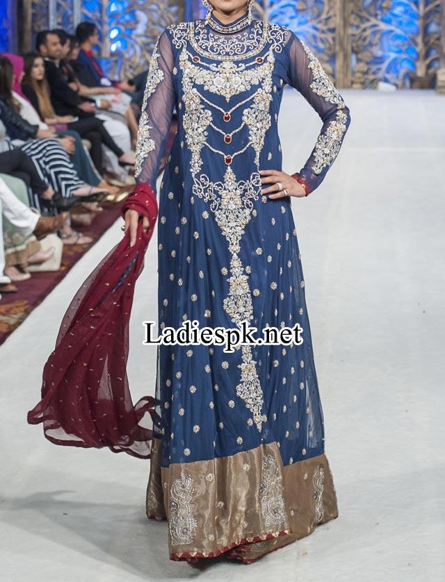 Mona Imran Bridal Collection at London Fashion Week 2014 rock Pakistani Indian Designer Bridal Lehenga with Choli facebook