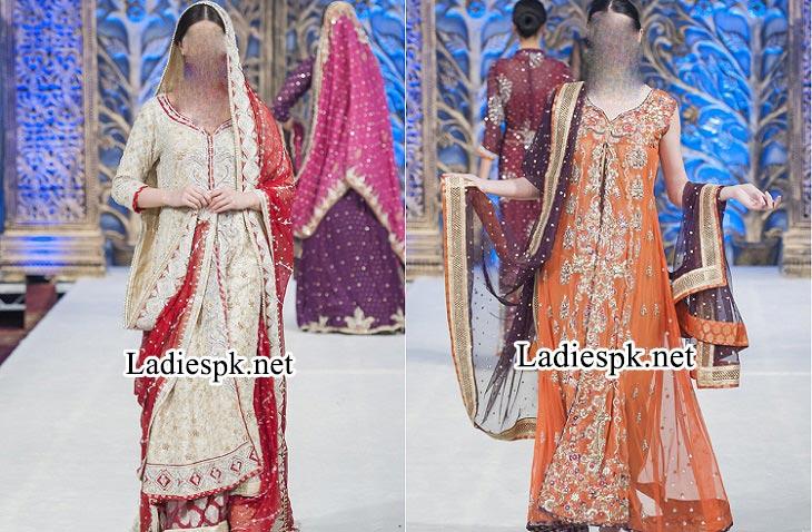 Mona Imran Bridal Collection at London Fashion Week 2014 rock Pakistani Indian Designer Bridal Lehenga with Choli