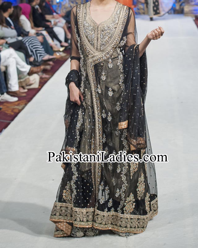 Mona Imran Bridal Collection at London Fashion Week angrakha style frocks 2014 Pakistani Indian Designer Bridal Lehenga with Choli