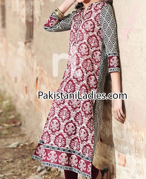 Nishat Linen Eid Summer Designs Collection 2014 for Women Girls Price Nisha Fashion Dress Long Shirt Choori Pajama PKR2,400.jpg-p