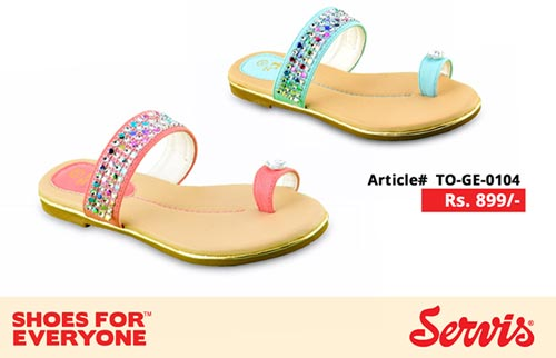service 2014 servis shoes pakistan eid summer collection for Kids with Prices flat Slipper girls