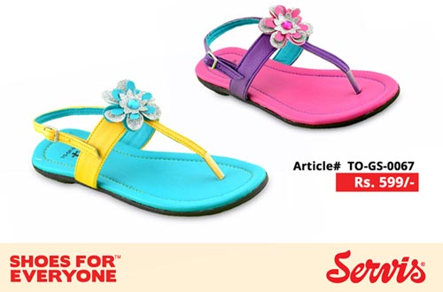 service 2014 servis shoes pakistan eid summer collection for Kids with Prices flat Slippers Girls