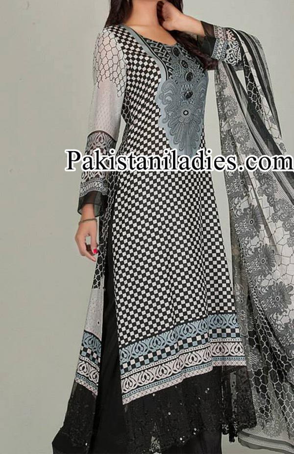 Dawood Lawn Collection 2014, Log Kameez Trouser Fashion Trend in Summer for Women Girls Pakistan India Black