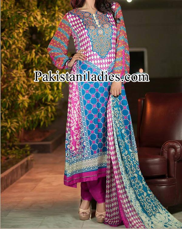Dawood Lawn Collection 2014, Log Shalwar Salwar Kameez Dresses Fashion Trends in Summer for Women Girls Pakistan India Pink