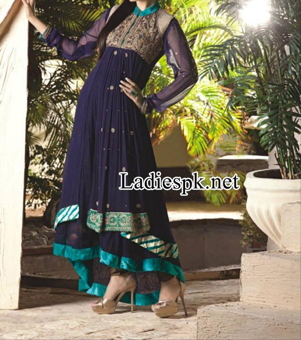 Nadia-Hussain-For-Ahsan-Hussain-Magazine-Bridal-Wedding-&-Party-Dresses-for-Girls-2014-2015-double-frock--Choori-Pajama