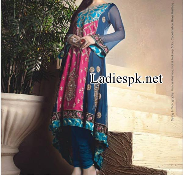Nadia-Hussain-For-Ahsan-Hussain-Magazine-Bridal-Wedding-&-Party-Dresses-for-Girls-2014-2015-Gown-Tail--Choori-Pajama
