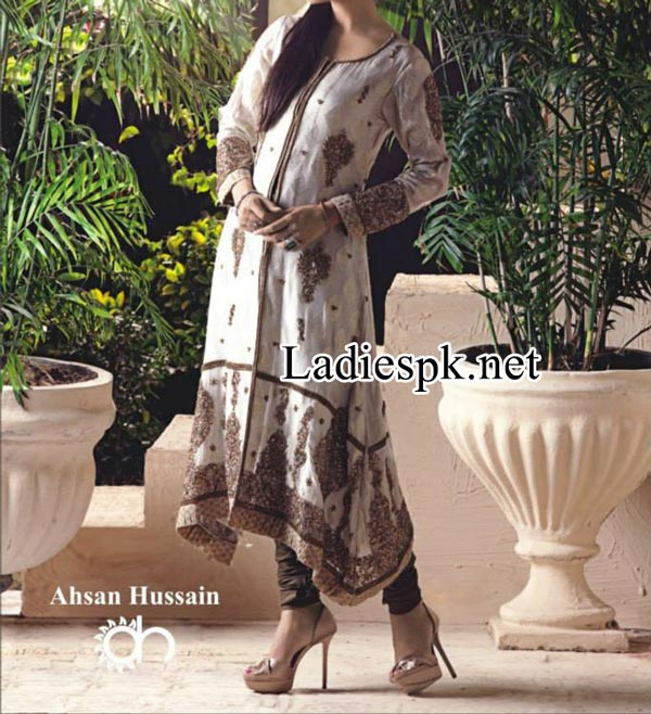 Nadia-Hussain-For-Ahsan-Hussain-Magazine-Bridal-Wedding-&-Party-Dresses-for-Girls-2014-2015-Open-Shirtl--Choori-Pajama