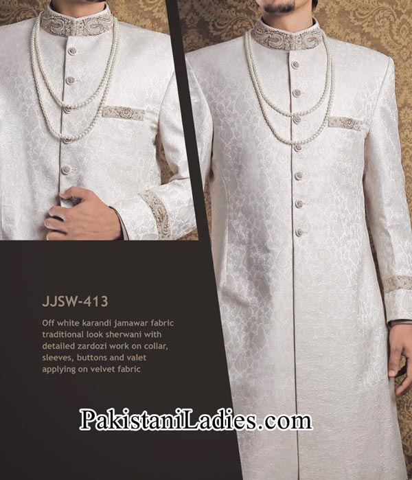 J. Couture  Junaid Jamshed Groom Sherwani Designs 2014 2015 off White
