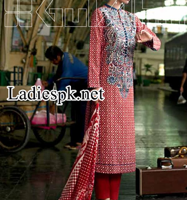 Fashion Trend Gul Ahmed Fall  Winter Dresses Designs Collection 2014 2015 Catalog Magazines Prices Women Girls